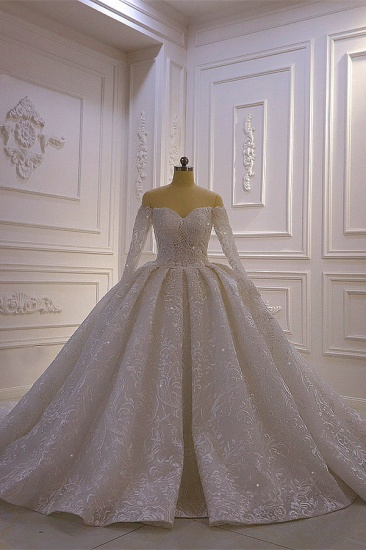 Luxury Ball Gown Long Sleeves Wedding Dress Tulle Lace Sweetheart Beadings Bridal Gowns On Sale