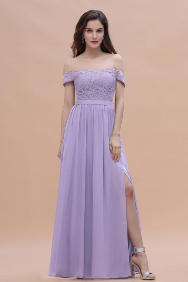 BMbridal Sexy Off-the-Shoulder Lace Chiffon Ruffles Bridesmaid Dress with Slit On Sale_6
