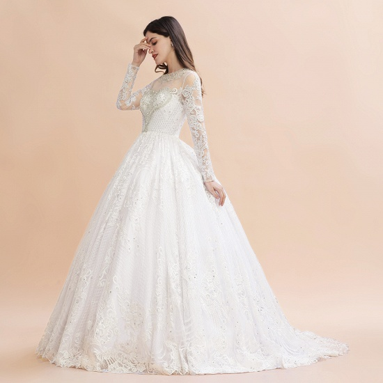 BMbridal Glamorous Jewel Tulle Lace Wedding Dress Long Sleeves Appliques Beadings Bridal Gowns Online_6