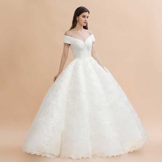 BMbridal Luxury Ball Gown Off-the-Shoulder Sweetheart Wedding Dress Sleeveless Lace Satin Bridal Gowns On Sale_8