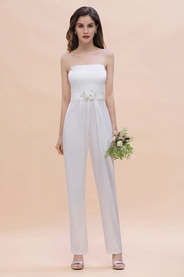 Fashion Strapless Satin Sleeveless Bridesmaid Jumpsuit with Beading Flowers On Sale_6