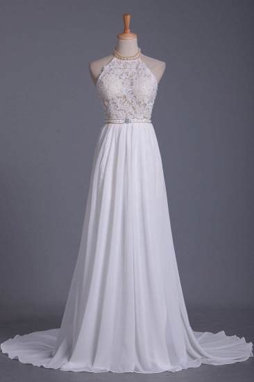 Boho Halter Chiffon Lace Wedding Dress Beadings Appliques Sleeveless Ruffles Bridal Gowns On Sale_1