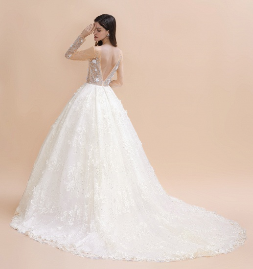 Luxury Ball Gown Tulle Lace Wedding Dress Long Sleeves Appliques Pearls Bridal Gowns with Flowers On Sale_10