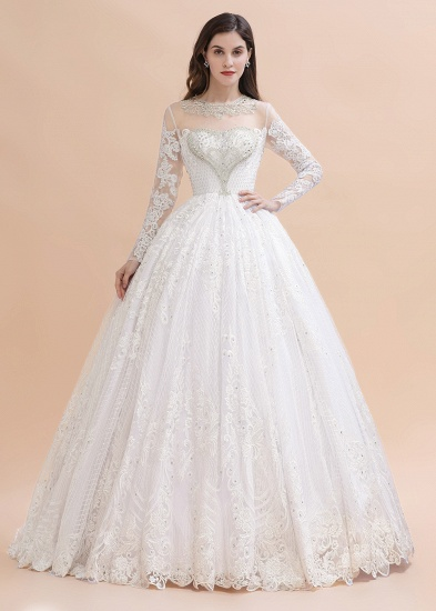 BMbridal Glamorous Jewel Tulle Lace Wedding Dress Long Sleeves Appliques Beadings Bridal Gowns Online_1