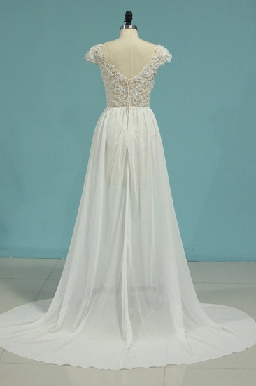 Simple Chiffon Ruffles Lace Wedding Dress Appliques Cap Sleeves V-neck Beadings Bridal Gowns On Sale_3