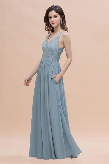 Stylish Straps V-Neck Chiffon Lace Dusty Blue Bridesmaid Dress On Sale_7