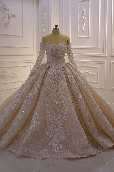 Gorgeous Ball Gown Strapless Sequins Wedding Dress Long Sleeves Tulle Lace Bridal Gowns On Sale