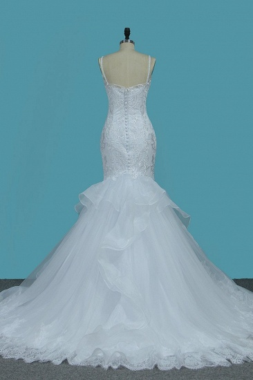 Gorgeous Straps Sweetheart Mermaid Wedding Dress Tulle Lace Appliques Ruffles Bridal Gowns Online_3