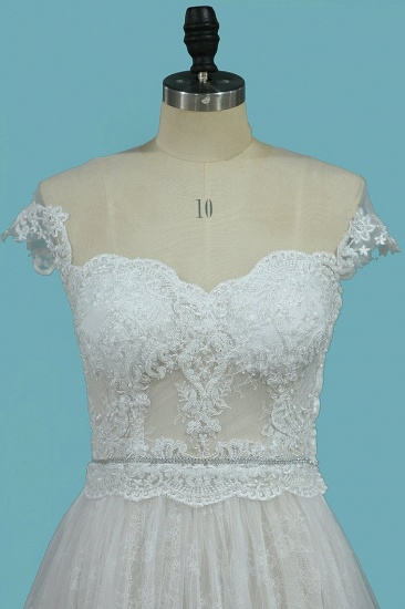 BMbridal Chic Jewel Sleeveless Tulle Wedding Dress Lace Appliques Ruffles Bridal Gowns On Sale_4