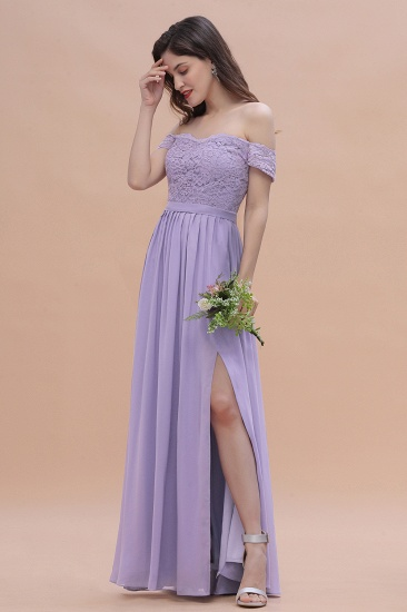 BMbridal Sexy Off-the-Shoulder Lace Chiffon Ruffles Bridesmaid Dress with Slit On Sale_5