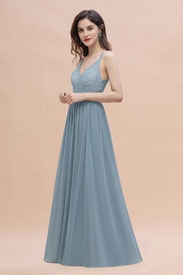 Stylish Straps V-Neck Chiffon Lace Dusty Blue Bridesmaid Dress On Sale_5