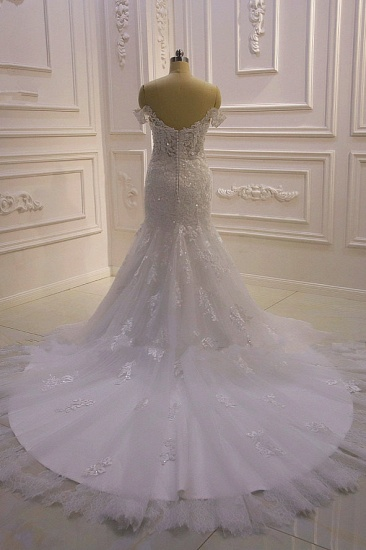 BMbridal Gorgeous Mermaid Tulle Lace Wedding Dress Off-the-Shoulder Appliques Bridal Gowns with Sequins Online_3