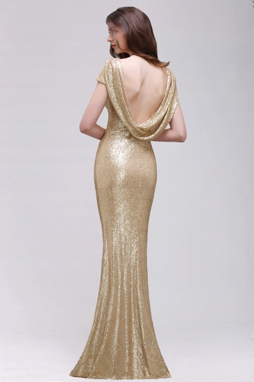 BMbridal Sparkly Sequined Jewel Sheath Prom Dress with Short Sleeves and Draped Back_10