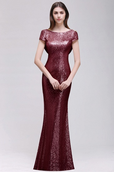 BMbridal Sparkly Sequined Jewel Sheath Prom Dress with Short Sleeves and Draped Back_1