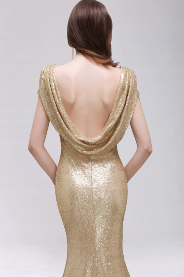 BMbridal Sparkly Sequined Jewel Sheath Prom Dress with Short Sleeves and Draped Back_12