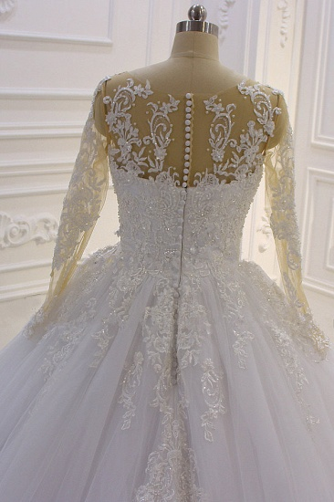 Ball Gown Tulle Appliqus Wedding Dress Long Sleeves Jewel Beading Ruffles Bridal Gowns On Sale_6