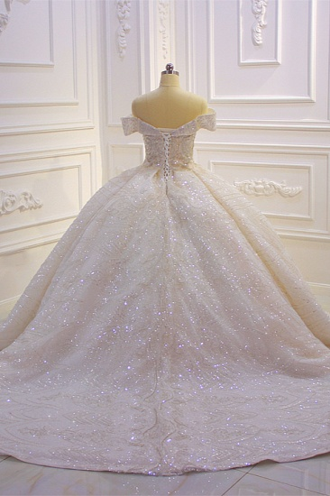 BMbridal Luxury Ball Gown Off-the-Shoulder Wedding Dress Tulle Sequined Beadings Sleeveless Bridal Gowns Online_3