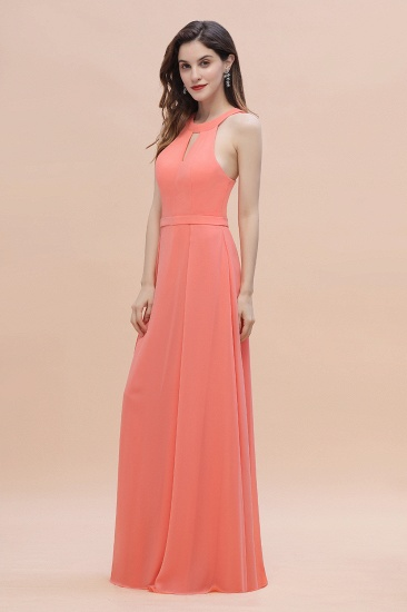BMbridal Simple Jewel Sleeveless Coral Chiffon Bridesmaid Dress Online_5