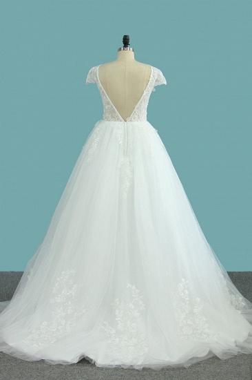 BMbridal Elegant Jewel Tulle Lace Wedding Dress Short Sleeves Appliques Ruffles Bridal Gowns Online_3