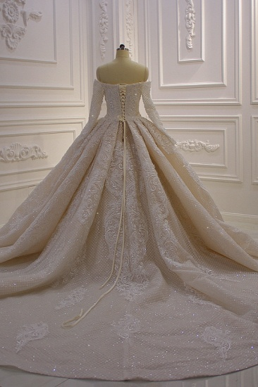 BMbridal Gorgeous Ball Gown Strapless Sequins Wedding Dress Long Sleeves Tulle Lace Bridal Gowns On Sale_3