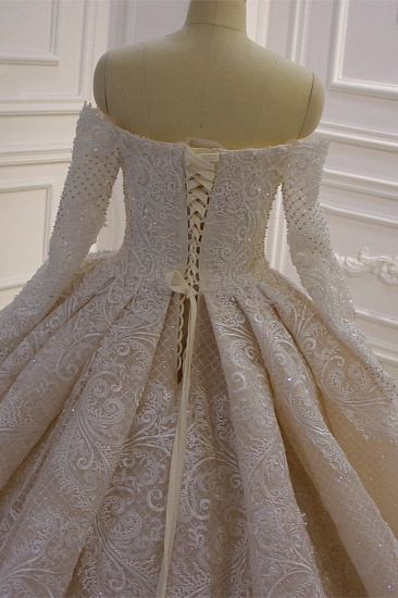 BMbridal Gorgeous Ball Gown Strapless Sequins Wedding Dress Long Sleeves Tulle Lace Bridal Gowns On Sale_7