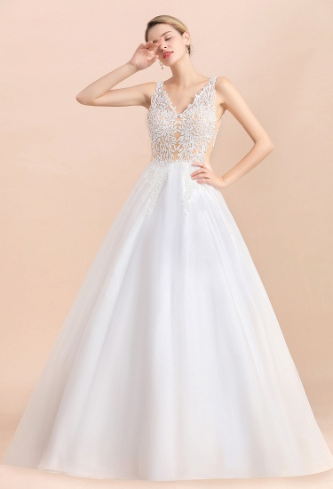 BMbridal Boho V-Neck Lace Wedding Dress Tulle Appliques Sleeveless Bridal Gowns On Sale_7