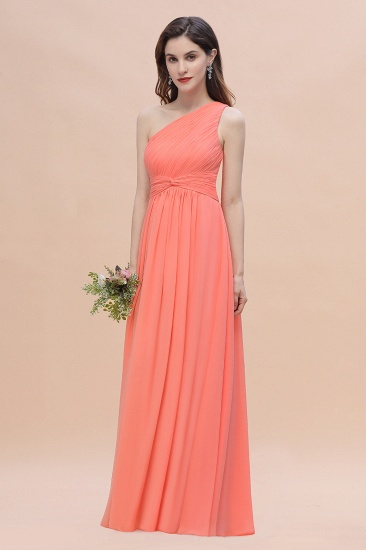BMbridal Chic One-Shoulder Ruffles Chiffon Coral Bridesmaid Dresses On Sale_5