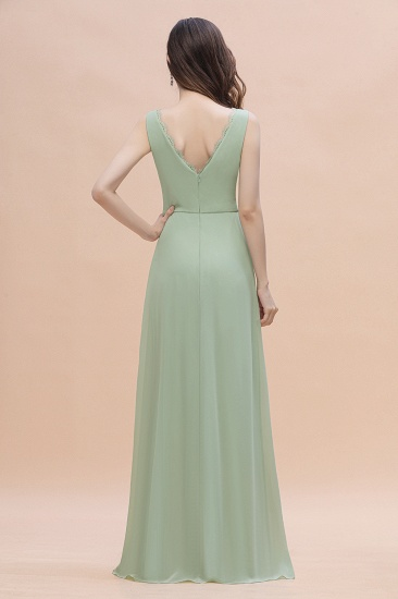 BMbridal Sexy Chiffon Ruffles Dusty Sage Bridesmaid Dress with Lace Edge On Sale_3