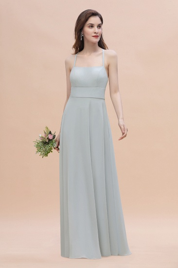 Simple Straps A-line Chiffon Mist Bridesmaid Dress with Ruffles Online_4