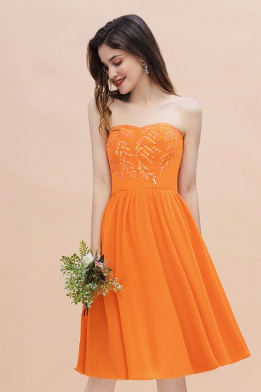 BMbridal Pretty Strapless Sweetheart Chiffon Sequins Short Bridesmaid Dress with Ruffles_7