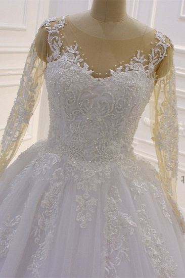 Ball Gown Tulle Appliqus Wedding Dress Long Sleeves Jewel Beading Ruffles Bridal Gowns On Sale_5