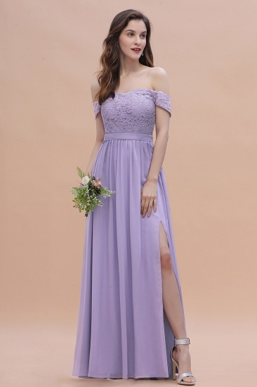 BMbridal Sexy Off-the-Shoulder Lace Chiffon Ruffles Bridesmaid Dress with Slit On Sale_4