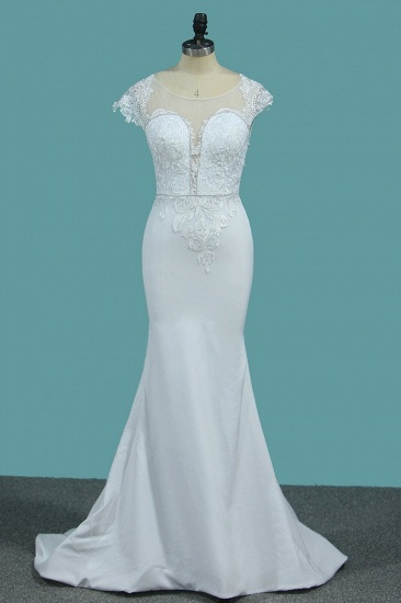 Chic Satin Jewel Lace Wedding Dress Cap Sleeves Beadings Mermaid Bridal Gowns On Sale