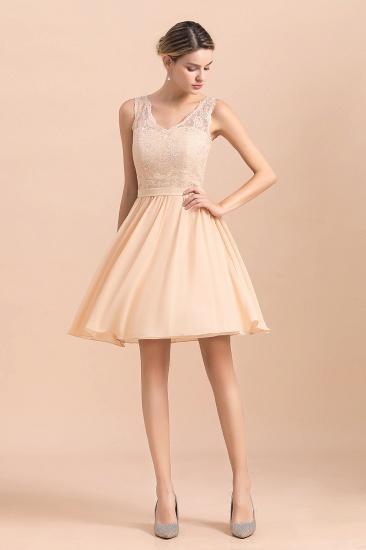 BMbridal Pretty V-Neck Chiffon Lace Short Bridesmaid Dress with Ruffles Online_8