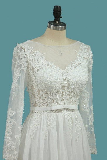 Elegant Jewel Long Sleeves Wedding Dress Chiffon Tulle Lace Ruffles Bridal Gowns Online_4