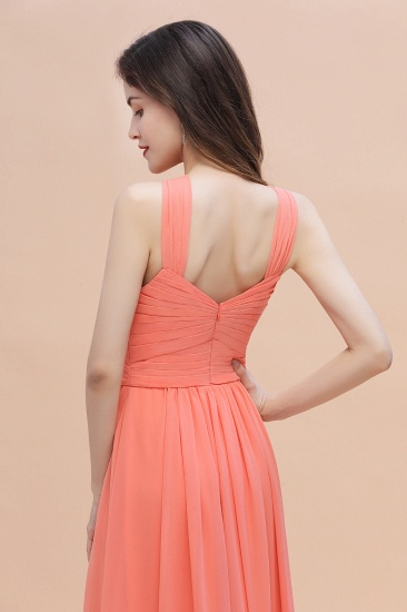 BMbridal Gorgeous A-Line Sleeveless Coral Chiffon Bridesmaid Dress with Ruffles On Sale_8