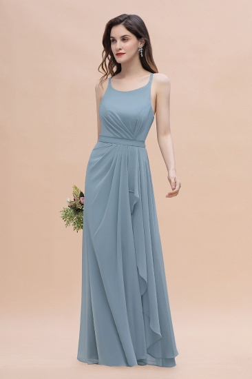 Gorgeous A-Line Straps Dusty Blue Chiffon Bridesmaid Dress with Ruffles On Sale_6