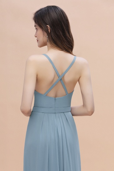 Gorgeous A-Line Straps Dusty Blue Chiffon Bridesmaid Dress with Ruffles On Sale_9