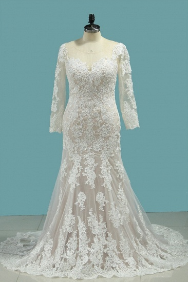 Elegant Mermaid Jewel Tulle Lace Wedding Dress Long Sleeves Appliques Sequined Bridal Gowns Online