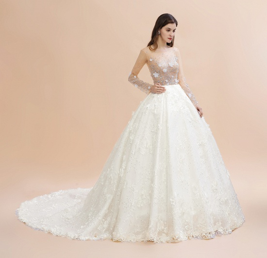 Luxury Ball Gown Tulle Lace Wedding Dress Long Sleeves Appliques Pearls Bridal Gowns with Flowers On Sale_12