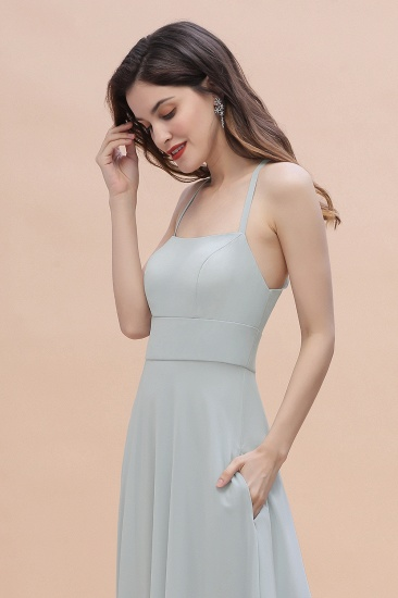 Simple Straps A-line Chiffon Mist Bridesmaid Dress with Ruffles Online_8