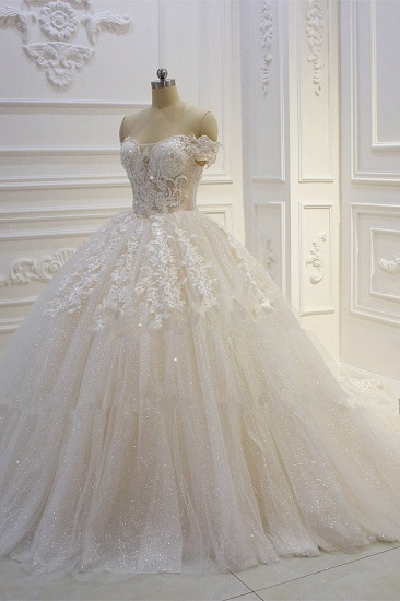 Luxury Ball Gown Strapless Tulle Wedding Dress Lace Appliques Sleeveless Sequined Bridal Gowns On Sale_4
