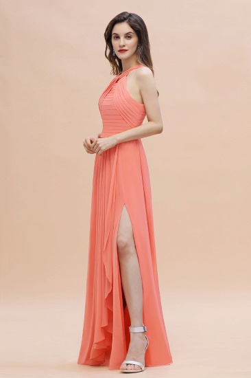 BMbridal Gorgeous A-Line Sleeveless Coral Chiffon Bridesmaid Dress with Ruffles On Sale_7