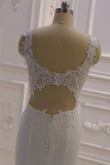 BMbridal Simple Mermaid Tulle Wedding Dress Straps Sleeveless V-Neck Bridal Gowns On Sale_6
