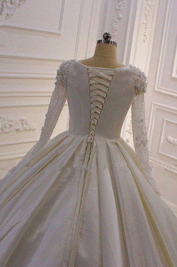 BMbridal Ball Gown Satin Long Sleeves Wedding dress Jewel Ruffles Flowers Bedaings Bridal Gowns On sale_5