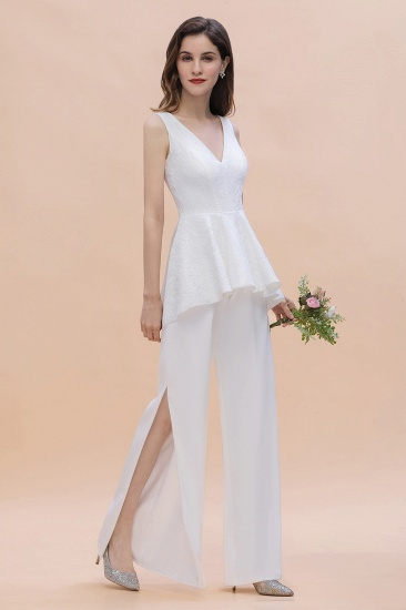 Fashion V-Neck Lace Side Slit Bridesmaid Jumpsuits with Hollowout On Sale