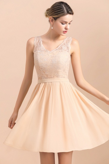 BMbridal Pretty V-Neck Chiffon Lace Short Bridesmaid Dress with Ruffles Online_7