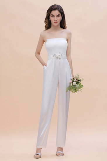 BMbridal Fashion Strapless Satin Sleeveless Bridesmaid Jumpsuit with Beading Flowers On Sale_5