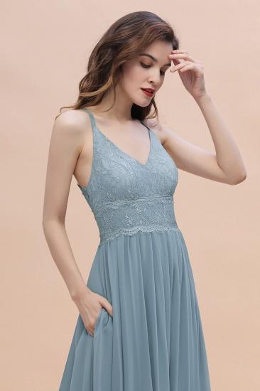 Stylish Straps V-Neck Chiffon Lace Dusty Blue Bridesmaid Dress On Sale_8