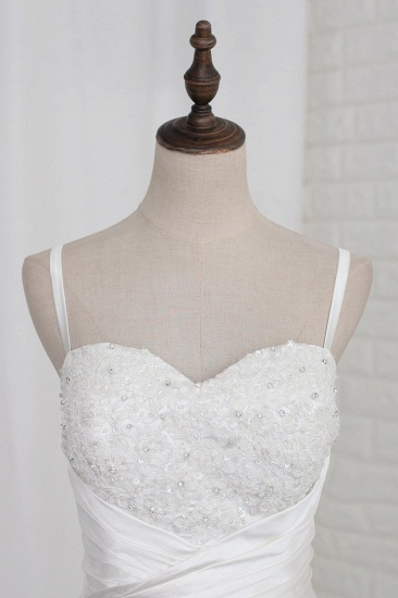 BMbridal Stylish Straps Sweetheart Wedding Dress White Satin Lace Appliques Beadings Bridal Gowns Online_4